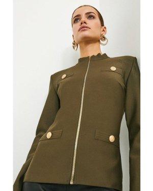 Karen Millen Military Bandage Knit Jacket -, Khaki/Green