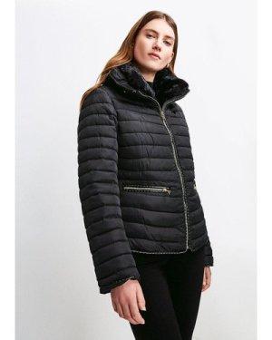 Karen Millen Faux Fur Collar Padded Jacket -, Black