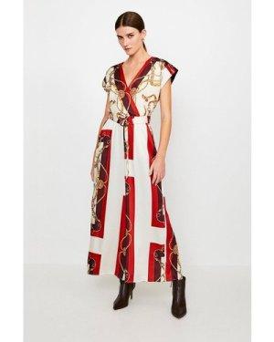 Karen Millen Italian Scarf Print Jumpsuit -, Brown