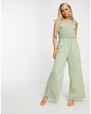 Fashion Union Cecily beach jumpsuit in khaki-Green