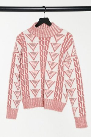 Fashion Union relaxed jumper in triangle knit-Cream