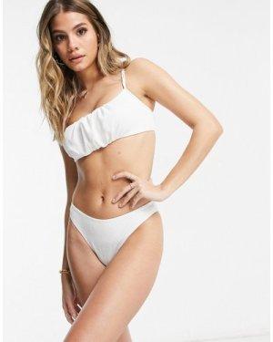 Fashion Union V high leg textured bikini bottom in white