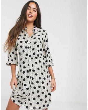 Mango button front shirt dress in dot print-Multi
