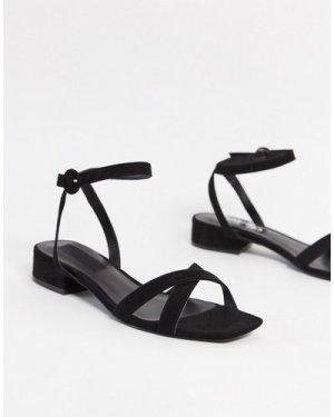 Mango cross strap sandals in black