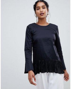 Closet London cuff sleeve pleated top-Black