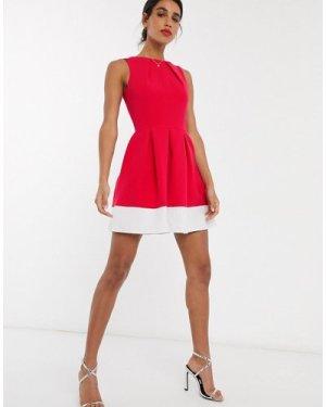 Closet skater mini dress in magenta colorblock-Pink