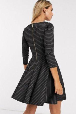 Closet mini skater dress with 3/4 sleeve in black stripe