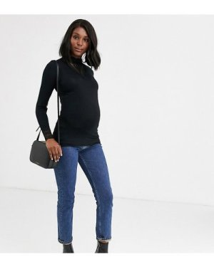 Mamalicious Maternity high neck top with lace insert in black