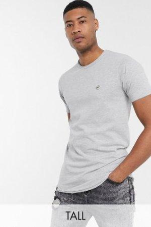 Le Breve Tall longline raw edge t-shirt in grey marl