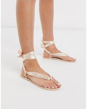 London Rebel tie leg jelly flat sandal-Clear
