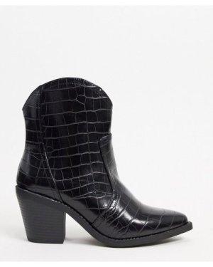 London Rebel western boots in black croc