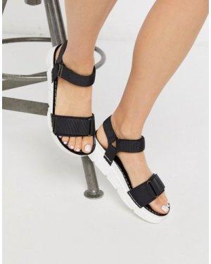 London Rebel sporty velcro strap sandals in black