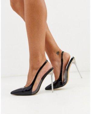 London Rebel pointed stiletto slingback heels in black