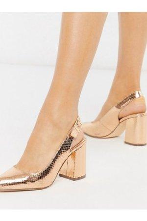 London Rebel wide fit sling back block heel in rose gold-Copper