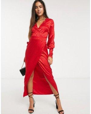 Liquorish wrap front maxi dress in red leopard jaquard