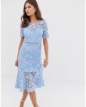 Liquorish lace midi dress with flared hem-Blue