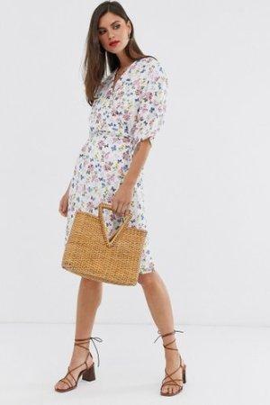 Liquorish wrap midi dress in white floral print-Multi