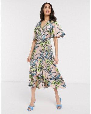 Liquorish wrap tie midi dress with frill hem in peach floral-Multi