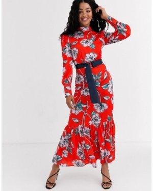 Liquorish ruffle hem maxi dress victoriana dress in floral-Red