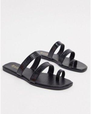 RAID Millie toe loop flat sandals in black
