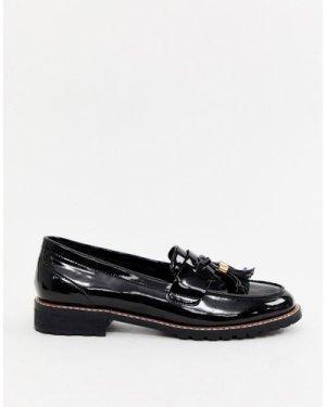 RAID Maya black patent chunky flat loafers