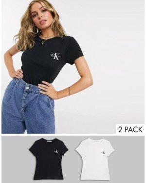 Calvin Klein Jeans 2 pack t shirt in multicolour
