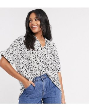 Wednesday's Girl oversized shirt with pocket in abstract animal print-White