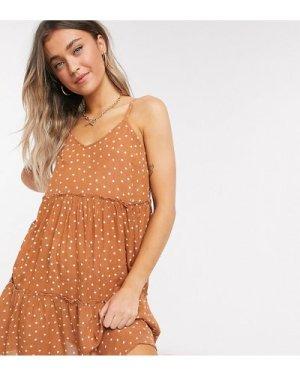 Wednesday's Girl mini cami smock dress in spot print-Brown