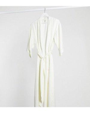 Lindex bridal long satin kimono in off white