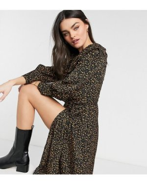 Fashion Union wrap midi dress with ruffles in abstract animal-Multi