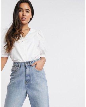 Mango volume sleeve button front shirt in white