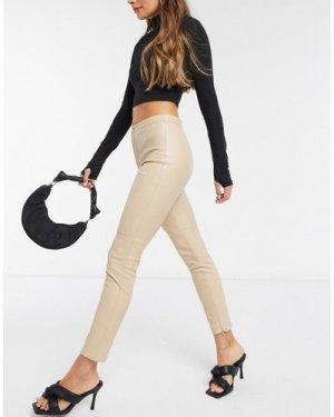 Mango faux leather skinny trousers in beige