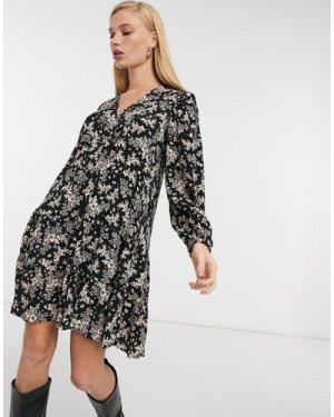 Mango tiered mini smock dress in black floral print-Multi