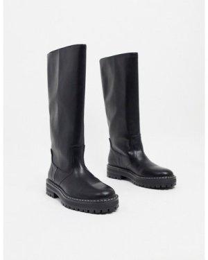 Mango straight high leg flat boot in black-Pink