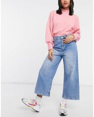 Mango cropped wide leg jeans in blue