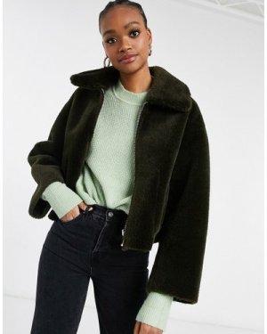 Mango cropped faux fur reversible jacket in brown