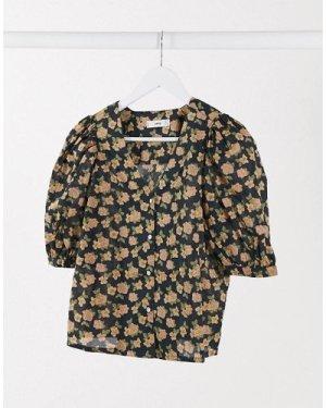 Mango v neck blouse in floral print-Black