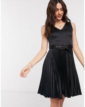 Closet London pleated mini dress with belt in black