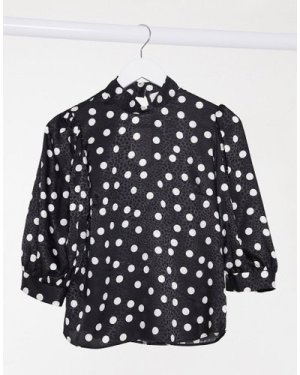 Closet London high neck balloon sleeve blouse in black with polka dot