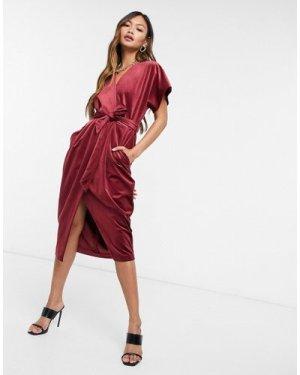 Closet London kimono sleeve velvet midi dress with wrap tie in wine red