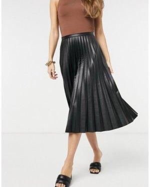 Closet London PU pleated midi skirt in black