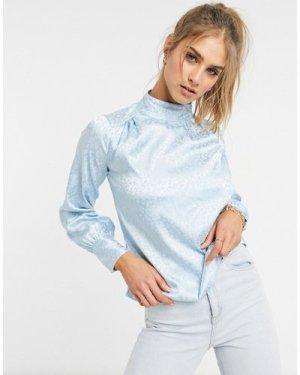 Closet London satin blouse in powder blue