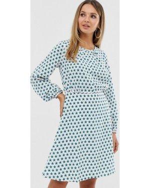 Closet split neck full sleeve dress-White