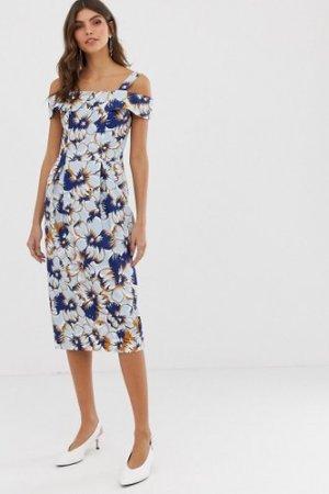 Closet off shoulder pencil dress-Blue