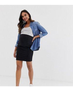 Mamalicious Maternity organic mini bodycon skirt in black