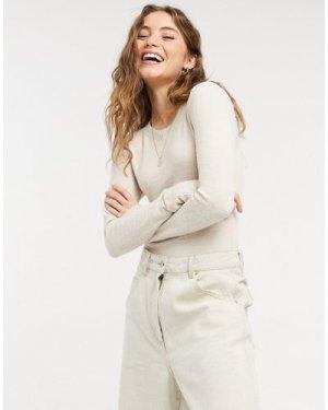 Abercrombie & Fitch cozy bodysuit in cream-Grey
