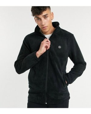 Le Breve Tall fleece funnel neck jacket in black