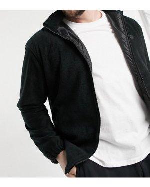 Le Breve Plus fleece funnel neck jacket in black