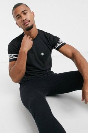 Le Breve lounge printed t-shirt in black and white