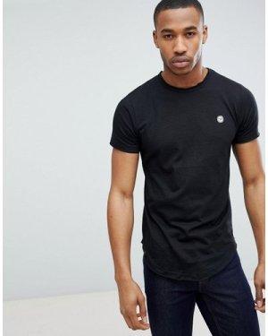 Le Breve Raw Edge Longline T-Shirt-Black